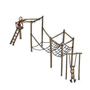 Trapeze, onderdeel van de survival bij Poldersport in De Kwakel. Een echte buitensport locatie