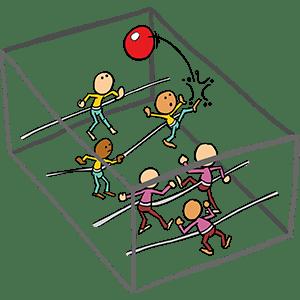 Levend Voetbalspel, onderdeel van de Zeskamp. Met zijn alleen in een grote kooi met elastieken aan elkaar verbonden en dan voetballen. Principe is te vergelijken met het tafelvoetbalspel. Wie scoort er...